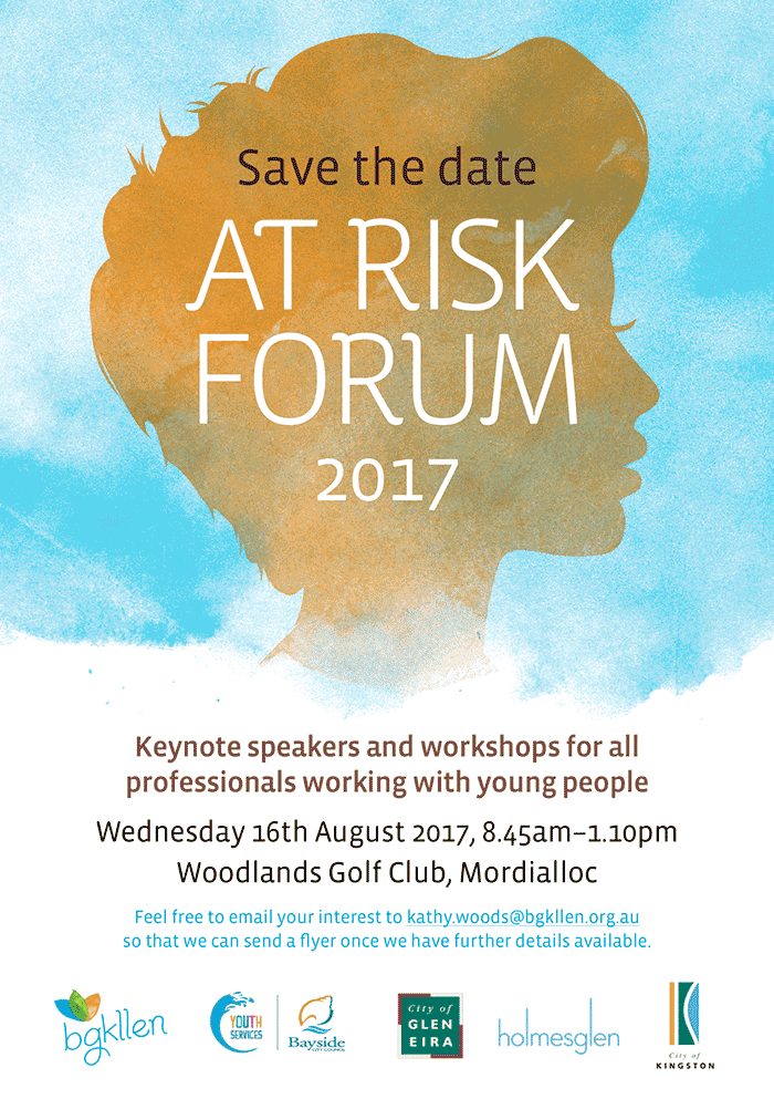 The At Risk Forum is on the 16th of August 2017 at 8:45am until 1:10pm. The event is being hosted at the Woodlands Golf Club. Save the date.