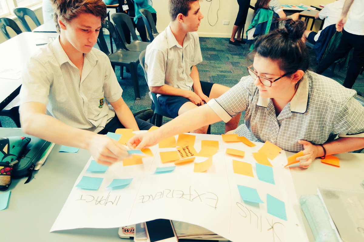 Students from a local school evaluating the VCAL Toolkit activities.