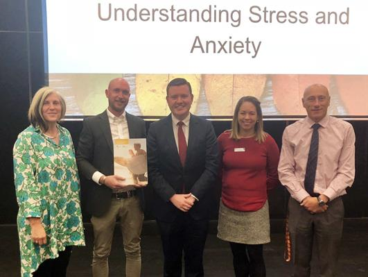 Michelle from ARC, Brendan from BGKLLEN, Tim Richardson MP, Louise from Wellbeing and Principal David from Parkdale Secondary College at the Managing Stress & Anxiety Teacher Resource Kit Launch.
